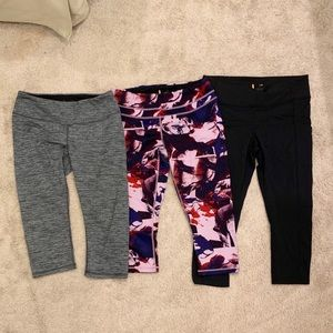 Lucy Activewear three (3) pair cropped pants